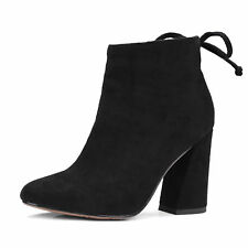 Womens Zip High Heel Block Pointed Toe Ankle Boots Party Shoes UK Size 1.5-8