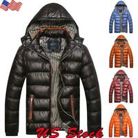 US Men's Winter Warm Hooded Thick Padded Jacket Zipper Casual Parka Outwear Coat