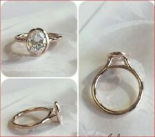 2Ct Oval Cut Moissanite Bezel Set Engagement Ring Solid In 14k Rose Gold Fn