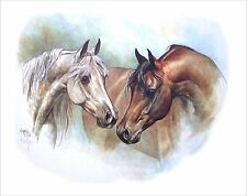 """RARE """"THE COURTSHIP"""" RACEHORSES Hand signed, Vintage, Collectible Print by KELLY"""