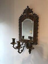 Hermosa vintage de Lámpara de pared vela con Espejo De Latón francés