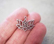 10 Lotus Flower Charms Ohm, OM, AUM YOGA Charm Pendentifs, 20 mm-argent antique