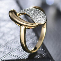 Drop Pear Spiral Cluster Crystal Rhinestone Silver & Gold Filled Women Lady Ring
