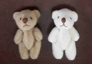 2x Gorgeous Tiny 35mm Teddy Bears / Teddies Set Nursery Toy Cot Gift Bag LGW