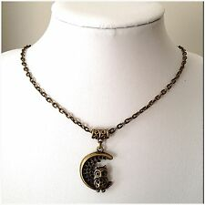 Girls Ladies Bronze Owl Sitting On The Moon Pendant 46cm Lobster Clasp Necklace