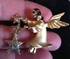 Rare! Giusti Gigi Vintage Christmas Stars Angel Brooch Spilla Angelo Stelle