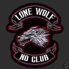 LONE WOLF NO CLUB PATCH 11 1/2 INCH EMROIDERED PATCH