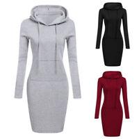 Womens Long Sleeve Hoodie Hooded Jumper Pocket Sweater Tops Casual Midi Dress