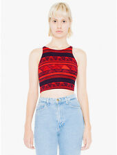 NWT American Apparel Red Black Cotton Geometric Afrika Sleeveless Crop Top XS,S