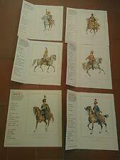 6 Litografie Soldati a cavallo del '700 e dell'800 da rivista OGGI DEGLI ANNI 50