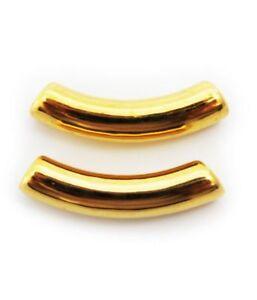 Keramik Röhrchen, gold, 28mm, 2 Stück, gebogen, Keramikperlen