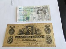 BANK OF ENGLAND - 1990 FIVE POUNDS , Circulated  , Presidents Bank $5 (Included)