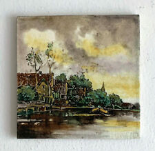 ANTIQUE MIJNLIEFF DUTCH TILE PLAQUE UTRECHT HOLLAND ROZENBURG DELFT ca 1900