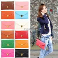 Womens Pu Leather Chain Envelope Clutch Tote Handbag Shoulder Bag Purse