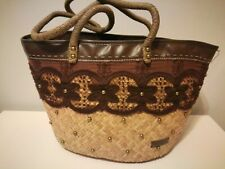 Ladies brown raffia / lace /  leather shoulder / hand bag new and unused