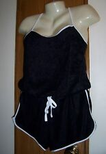 L shorts romper black adjustable straps lounge swim cover up spa wear 11 13