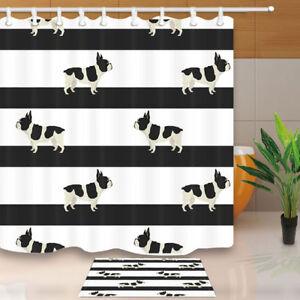 "French Bulldog And Black Stripe Bathroom ShowerCurtainSet Fabric&12Hook71"""