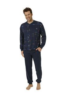 Herren ProKlima Pyjama Schlafanzug Knopfleiste Allover Marine Übergrößen 54002