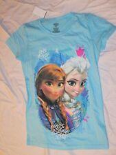New Frozen Disney T-Shirt Top Girls Size L Blue Crewneck 12 14 Elsa & Anna