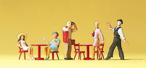 PREISER 10348 Gauge H0 Figurines, Pantomime, Guests IN Street Cafe # New Boxed#