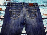37F- BKE Denim Women's  Stella Boot Cut Distressed Jeans Size 28 X 33 1/2