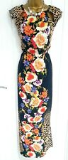 RIVER ISLAND size 10 multi floral leopard maxi summer holiday beach dress O
