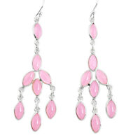 925 Sterling Silver 11.93cts Natural Pink Chalcedony Chandelier Earrings P43915