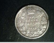 1905 Canada, Diez Centavos, Grado Medio Circulación, .0691oz SLV (Can-641)