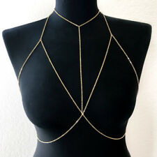 Stylish Shiny Crystal Rhinestone Bra Chest Body Chain Harness Necklace Jewelry