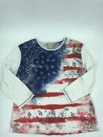 Jess & Jane Womens Vintage Flag T-Shirt Paisley 3/4 Sleeves Crew Rhinestones XL