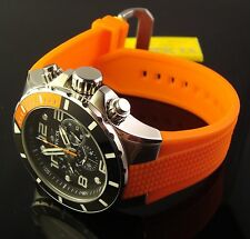 INVICTA MENS NEW 50MM MULTI FUNCTION SWISS BLACK DIAL  W ORANGE POLY BAND