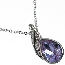 4.39 Ct Pear Cut Style Shape Purple Amethyst CZ 18K White Gold Plated Pendant