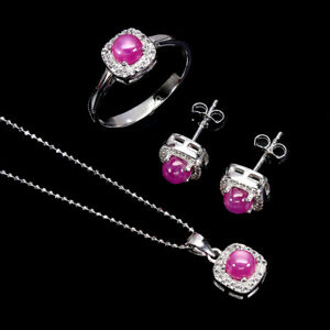 Round Red Ruby 5mm Cz 14K White Gold Plate 925 Sterling Silver Sets