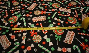 100% Cotton Black Multi Color Christmas Candy Fabric S B T Y