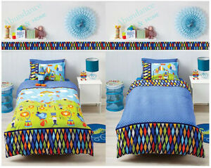 CIRCUS FUN Single Bed Reversible Clown Lion Quilt Cover Set by Cubby House Kids
