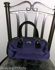 Victoria's Secret Plum Purple Nylon/Black Faux Leather HandBag/Purse/Tote GUC