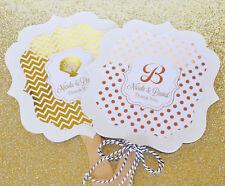 24 Personalized Paddle Fans Gold Silver Foil Wedding Party Favors Lot Q21301