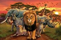 AFRICAN KINGDOM - ANIMAL ART COLLAGE POSTER 24x36 - LION 3123
