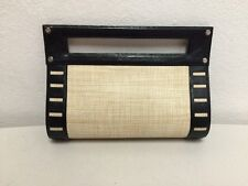 Armani Exchange Clutch Black Leather Straw Light Easy Carry Bag  Purse Handbag