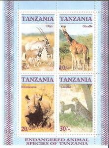 Tanzania 1986 Endangered Wildlife Giraffe Oryx Cheetah Rhino S/S MNH (SC# 322a)