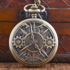 Chain Antique Quartz Necklace Gift Vintage Steampunk Gears Bronze Pocket Watch