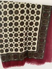 Vintage Retro Trendy MOD 100 % Wool Square Patterned Scarf  Burgundy Red Cream