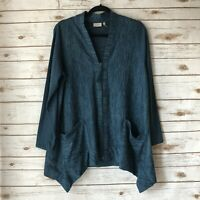 LOGO Lori Goldstein Medium Blue Pockets Long Sleeve Full Zip Cardigan Sweater