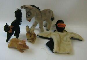 Vintage Steiff Stuffed Animals Black Cat Pig Donkey Rabbit & Penguin Puppet
