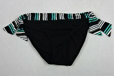 Captiva By Christina Bikini Bottoms Black Turquoise Size Medium NWT 3301344