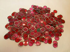 Vintage Transparent Bingo Markers Chips Place Holders Red With Metal Rim