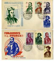 2 Sobres primer dia España 1962 Forjadores de America Spain First day