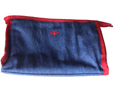 Buzz By Jane Fox Blue Denim Cosmetic Bag Zippered Make Up Pouch Bee