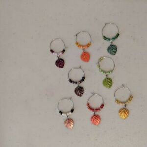 Wine Glass Stemware Silver Toned Marker Charms Set of 8