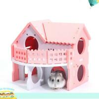 Wood Guinea Pig Hamster Hammock Bed Nest Double-Deck Villa House Cage Toys L&6
